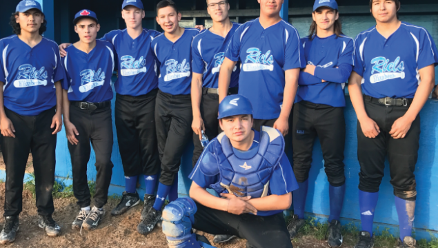 Baseball team in blue jerseys