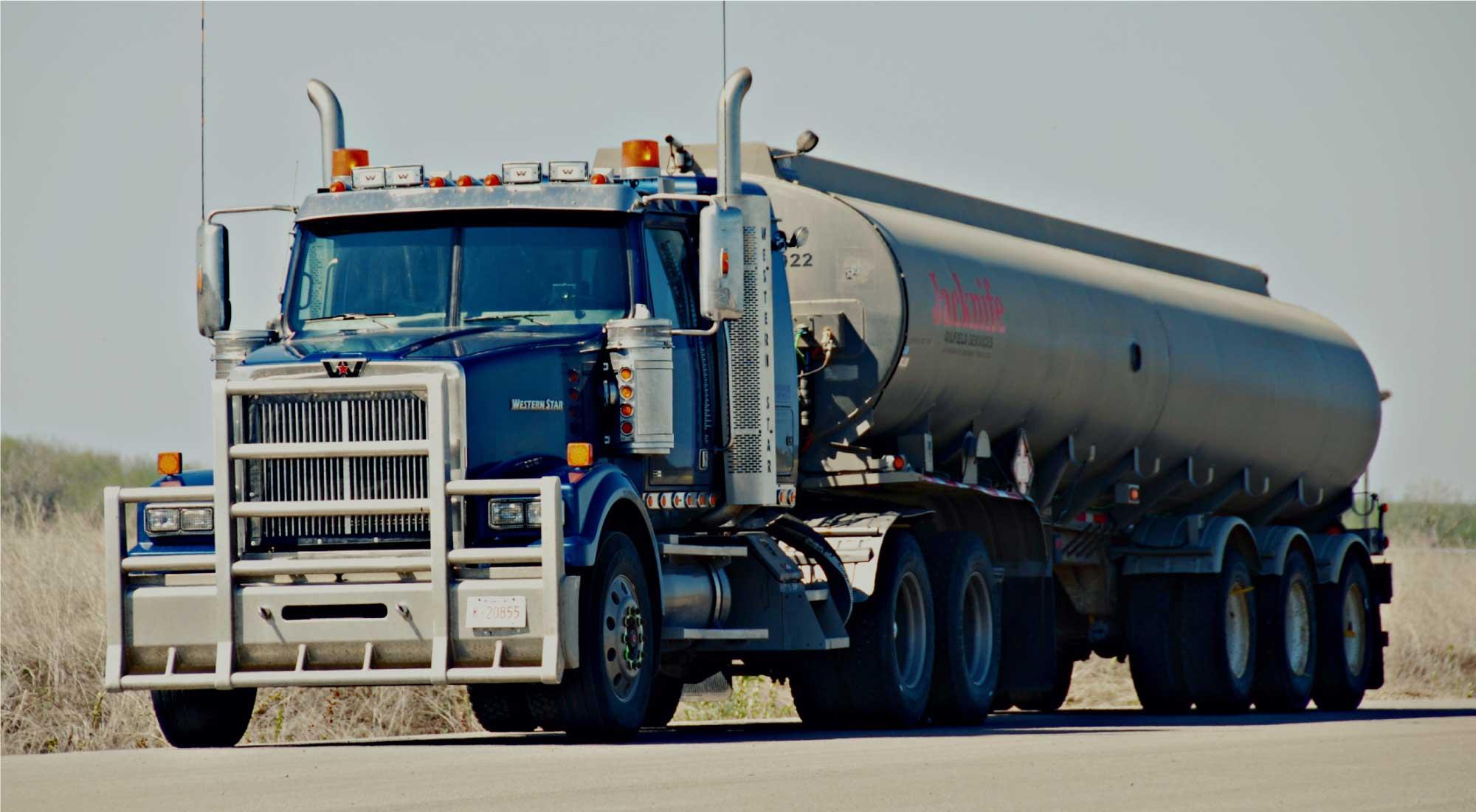 Fluid hauling truck in Alberta